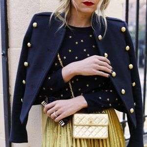 J. CREW Tippi Sweater Embroidered Gold Stars NN44